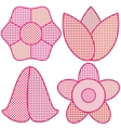 Set of styled pink flowers on white background vector image