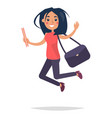 young bouncing girl student flat and shadow theme vector image
