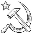 doodle hammer sickle communism star vector image