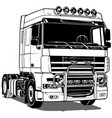 black and white truck vector image