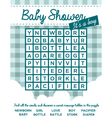 Baby Boy Shower Invitation with Word Puzzle vector image vector image