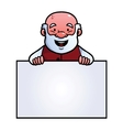 Old man holding a blank sign vector image