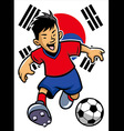 korean soccer player with flag background vector image