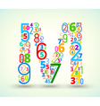 Letter M colored font from numbers vector image
