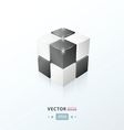 3D Cube black and white color vector image vector image