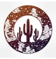 Round drawing of a night sky cactus silhouette vector image