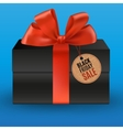 Black gift with red bow vector image