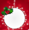 Christmas card design with holly vector image