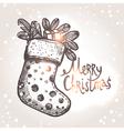 Christmas Card With Christmas Sock vector image