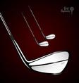 Golf sticks on the dark background as design vector image