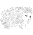 hand drawn woman with waves vector image
