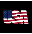 US inscription stylized flag on a black background vector image