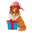 Christmas theme with dog and present box vector image