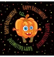 Happy halloween Greeting card with a cute pumpkin vector image