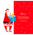 big congratulatory signboard with santa and gift vector image