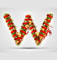 christmas font letter w of christmas tree vector image