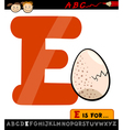 letter e with egg cartoon vector image