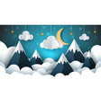 mountain landscape paper cloud star vector image