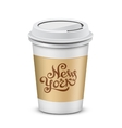 Plastic coffee cups with lid vector image
