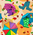 Seamless pattern of gumboots and umbrellas vector image