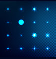set of light effect stars with sparkles vector image