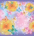 Abstract background with flowers and butterflies vector image vector image