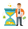 time is money concept flat style colorful vector image