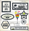 Travel and vacation post stamp set vector image vector image