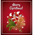 Cookie candle leaves icon Merry Christmas design vector image