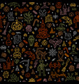 happy halloween pattern with outline colored vector image