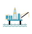 Sea oil rig offshore platform technology flat vector image