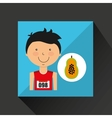 cartoon boy athlete with papaya half vector image