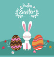 happy easter bunny egg flowers vector image