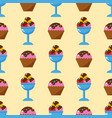 little delicious cupcakes sweet dessert seamless vector image