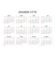 Calendar 2018regular font vector image