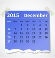 Calendar december 2015 colorful torn paper vector image