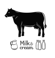 Milk and cow emblems set vector image vector image