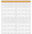 Set of Spanish 2015 2016 2017 2018 calendars vector image