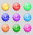 Anchor icon Symbols on nine wavy colourful buttons vector image