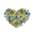 modern flowers in a heart isolated on white vector image vector image