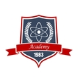 Physics academy emblem with shield and atom vector image