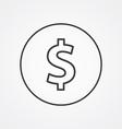 dollar outline symbol dark on white background vector image