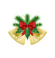 golden christmas bells with ribbon green branches vector image
