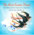 easter egg hunt cartoon poster with swallow bird vector image