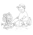lawn mower man outline vector image vector image