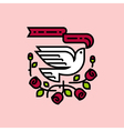 White dove and roses traditional American tattoo vector image