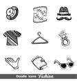 Fashion doodle icon set vector image