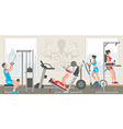 Flat gym interior vector image