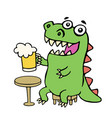 funny dinosaur sitting with a mug of beer vector image