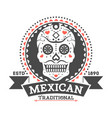 mexican vintage isolated label with sugar skull vector image